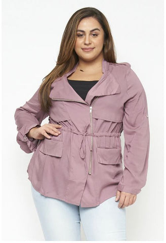 Mauve Pink Plus Size Military Jacket