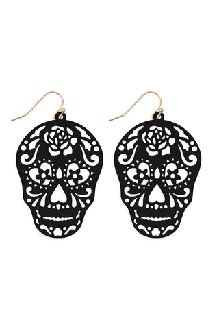Black Filigree Skull Earrings