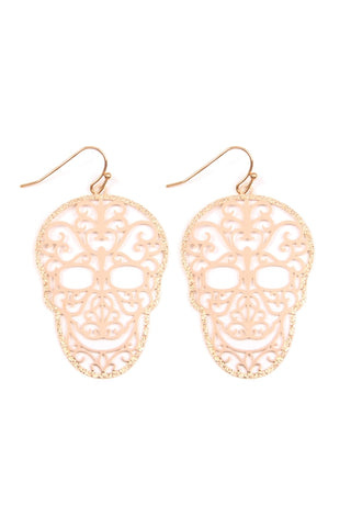 Gold Plate Filigree Skull Earrings