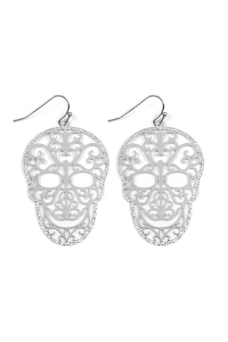 Silver Plate Filigree Skull Earrings