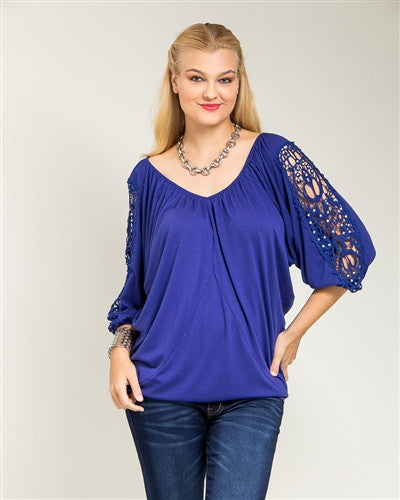 Blue Crocheted Lace Dolman Sleeve Top