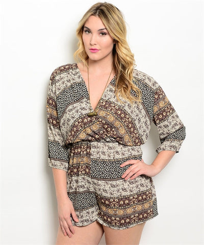 Womens Plus Size Ivory and Brown Abstract Print Romper