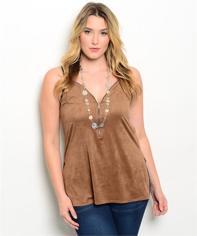 Womens Plus Size Brown Faux Suede Tank Top