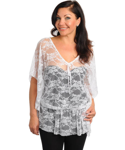 Womans Plus Size Sheer White Lace Top