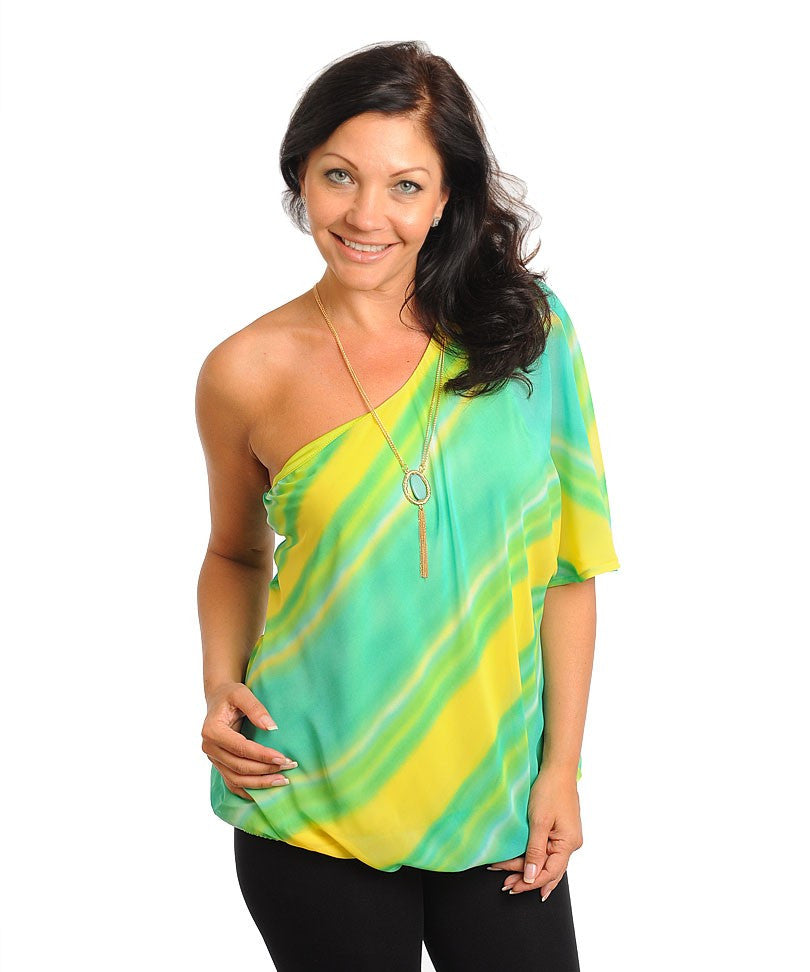 Womans Plus Size Green and Yellow Single Shoulder Top with Necklace