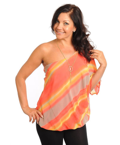 Womans Plus Size Pink and Orange Single Shoulder Top with Necklace