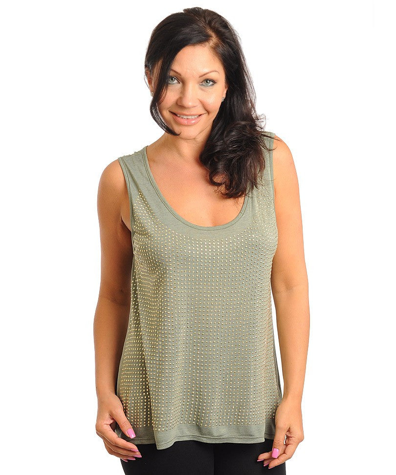 Womens Plus Size Olive Green Tank Top with Stud Accents
