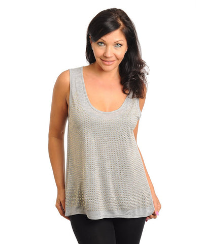 Womens Plus Size Gray Tank Top with Stud Accents