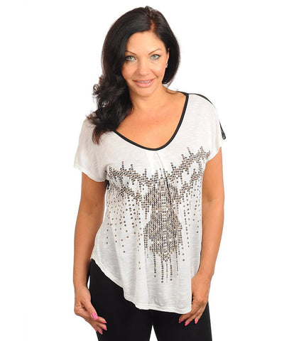 Womens Plus Size White Top with Black Sheer and Sequin Accents
