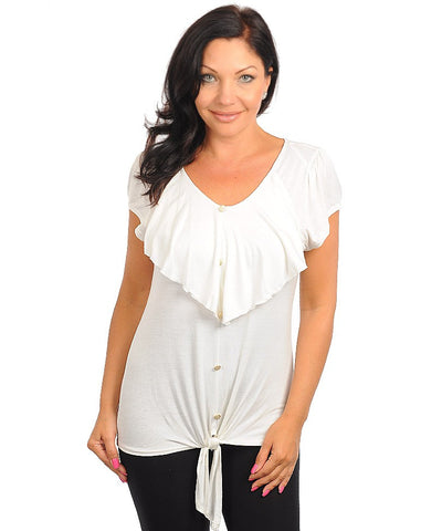Womens Plus Size White Ruffle Front Top with Tie Front Accent