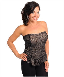 Beige and Black Lace Overlay Strapless Peplum Top
