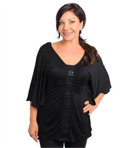 Womans Plus Size Black Ruffled Top Rhinestone and Stud Acc