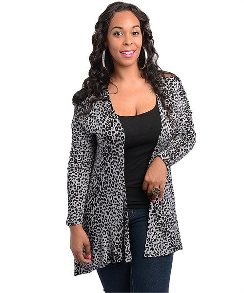 Edgy Long Sleeve Animal Print Cardigan with Lace Back Accent Plus Size