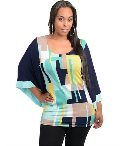 Navy Blue and Mint Plus Size Abstract Print Top