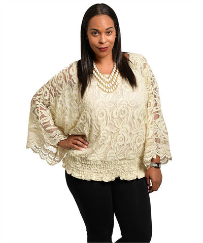Romantic Beige Rosette Lace Poncho Style Top