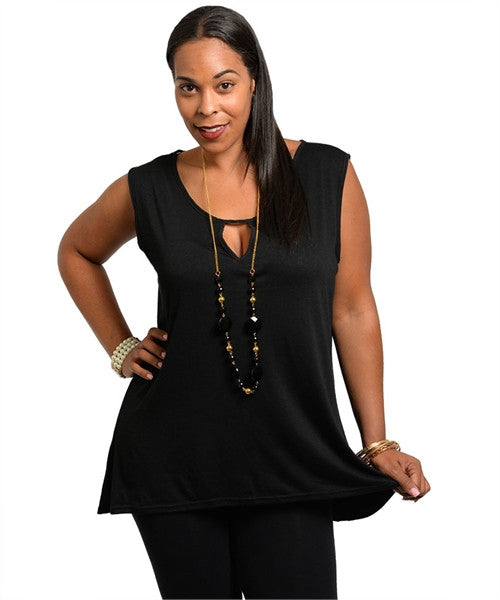 Black Sleeveless Top with Keyhole Accent Sheer Back and Necklace