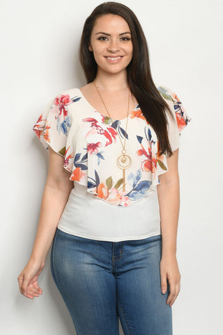 Ivory Floral Plus Size Top with Necklace