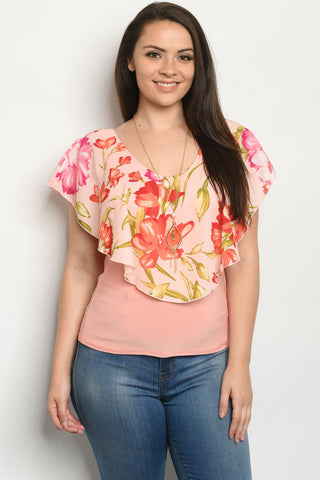 Peach  Floral Plus Size Top with Necklace
