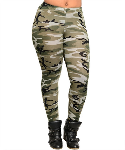 Women's Plus Size Cammo Print Leggings