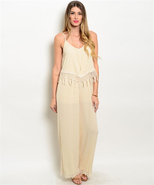 Misses Beige Jumpsuit Romper with Lace and Fringe Accents
