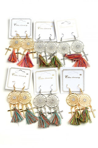 Dream Catcher Tassel Earrings