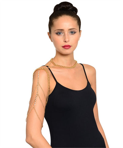 Goldplate Body Chain Armband Necklace with Rhinestone Accents
