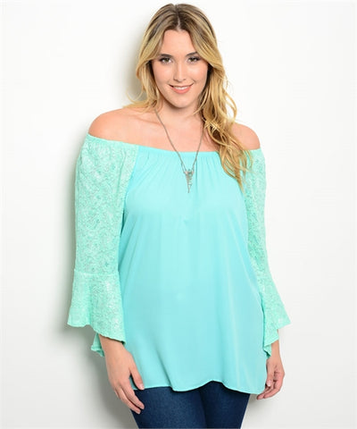Mint Green Cold Shoulder Top with Lace Bell Sleeves