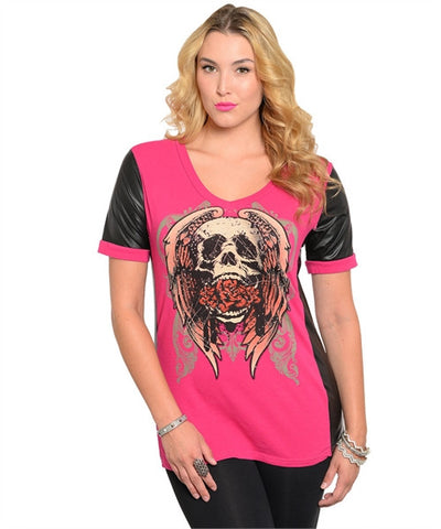 Edgy Pink and Black Tattoo Inspired Top with Skulls Plus Size