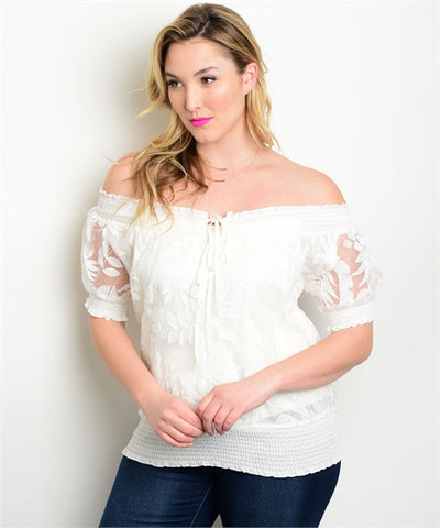 Womens Plus Size Ivory Off Shoulder Semi Sheer Top