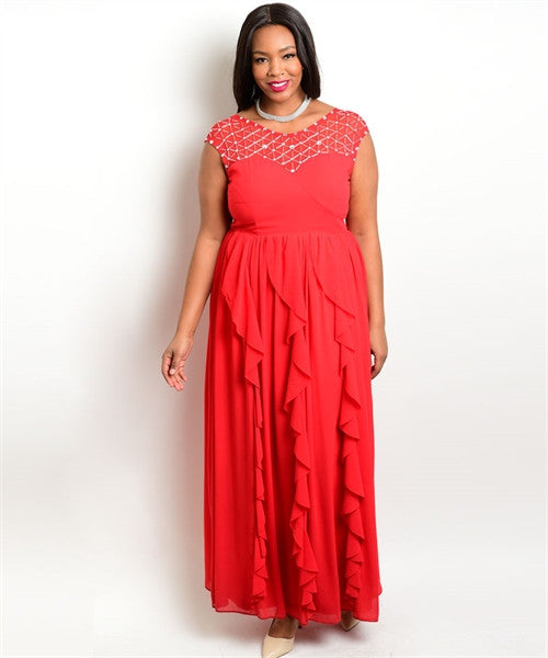 Women's Plus Size Red Ruffled Gown Sweetheart Neckline Rhinestone Details