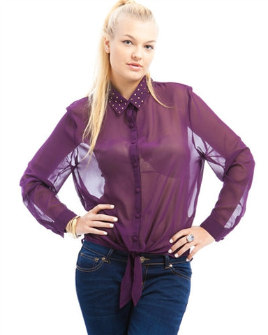 Purple Semi Sheer Plus Size Gemstone Collar Shirt
