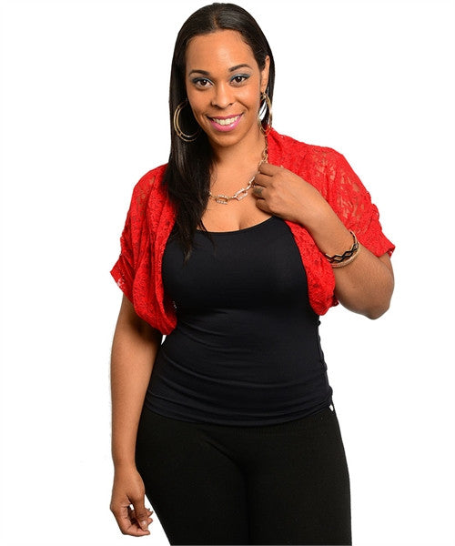 Women's Plus Size Red Lace Bolero Shrug