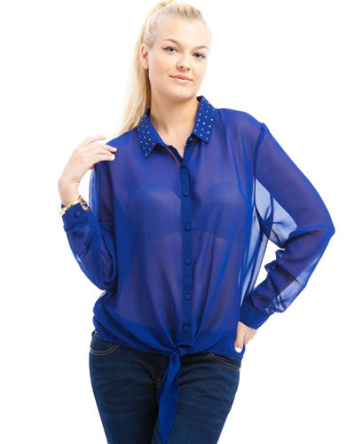 Royal Blue Semi Sheer Crystal Gem Collar Black Plus Size Shirt