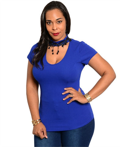 Royal Blue Stretch Fit Top with Jeweled Choker Accent Neckline