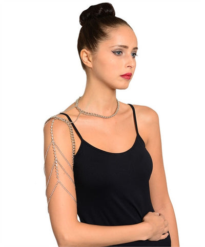 Silverplate Body Chain Armband Necklace with Rhinestone Accents