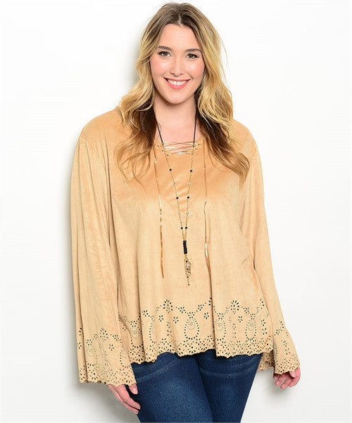 Womens Plus Size Tan Faux Suede Bell Sleeve Top