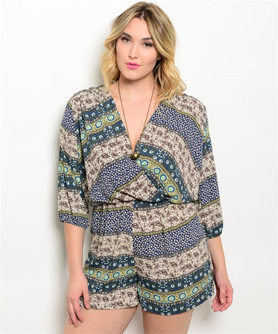 Womens Plus Size Teal and Ivory Abstract Print Romper