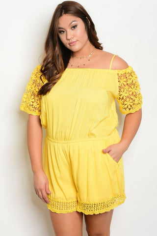 Yellow Plus Size Lace Accent Romper
