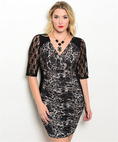Women's Plus Size Black Animal Print Bodycon Dress with Lace Accents
