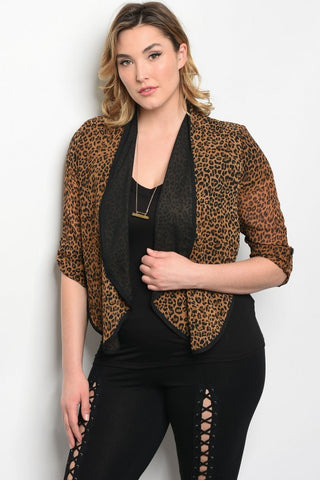 Brown Animal Print Plus Size Cardigan Blazer