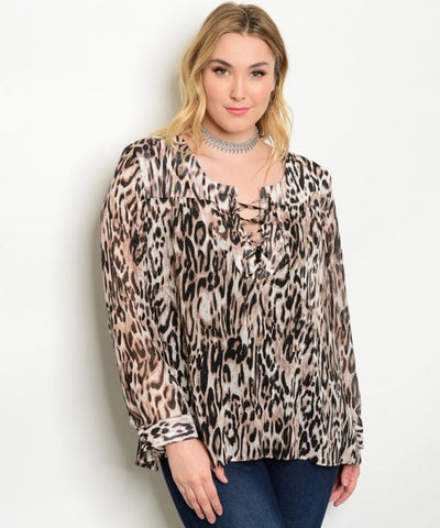 Women's Plus Size Tiger Print Long Sleeve Blouse