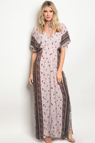 Misses Baby Blue and Pink Floral Boho Maxi Dress