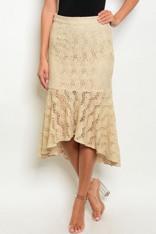 Misses Khaki Beige Mermaid Cut Lace Skirt