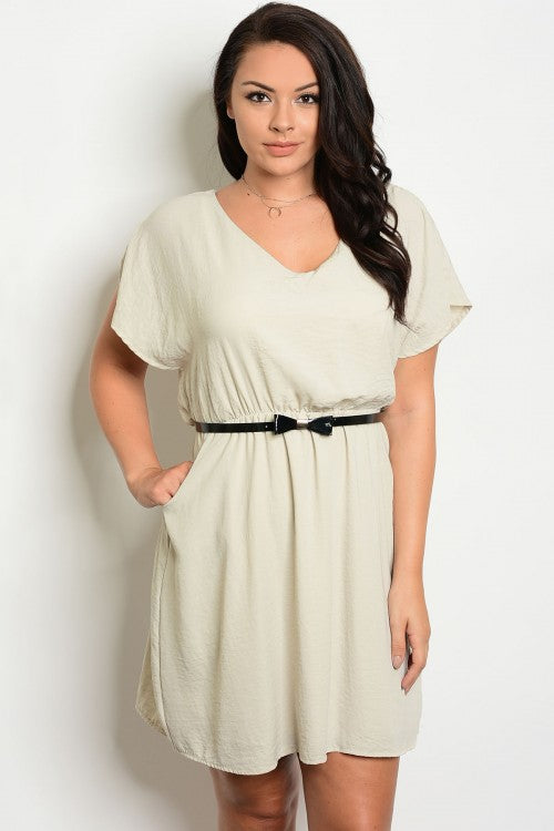Beige Short Sleeve Plus Size Belted Dress