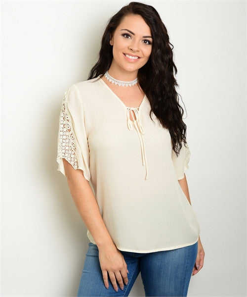 Women's Plus Size Beige Chiffon Tie Front Crocheted Lace Accent Top