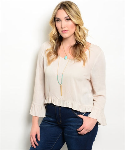 Women's Plus Size Beige Peasant Top