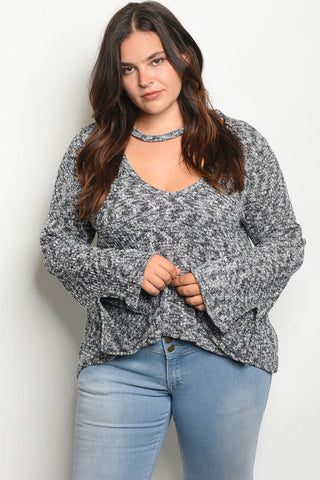 Charcoal Gray Bell Sleeve Plus Size Sweater