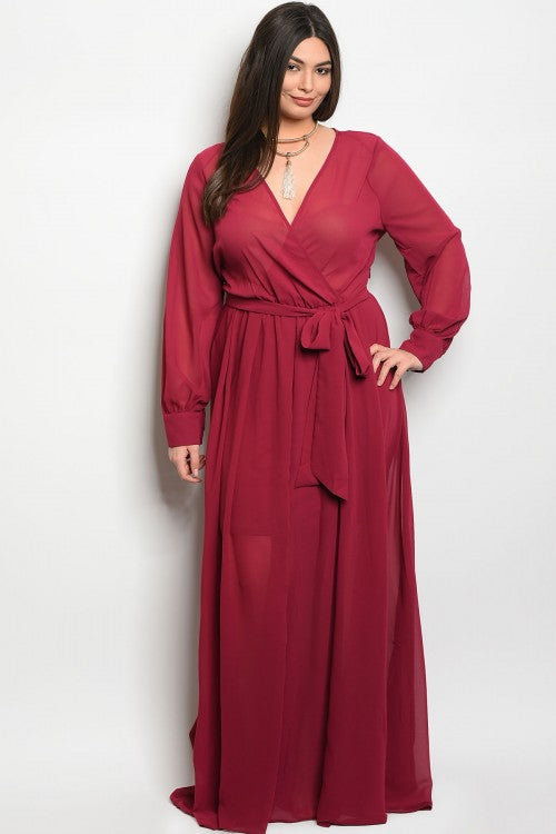 Berry Chiffon Plus Size Maxi Dress