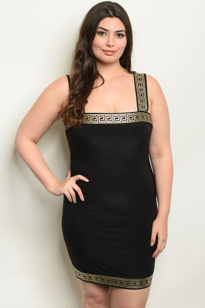 Black and Gold Plus Size Bodycon Dress