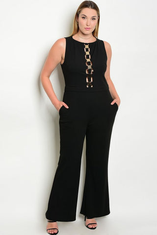 Black and Gold Peek A Boo Plus Size Jumpsuit